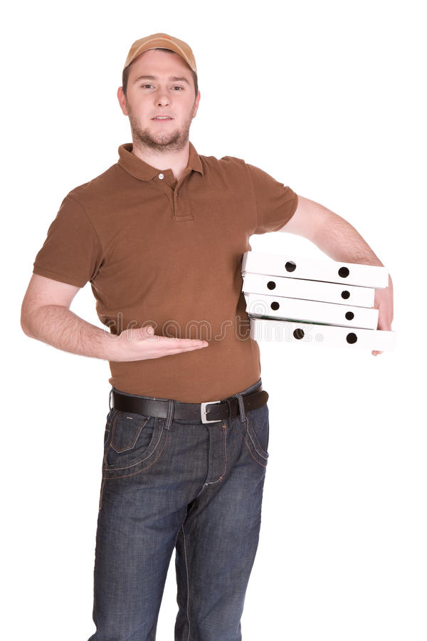 Pizza delivery. Happy man with pizza delivery. over white background royalty free stock photos