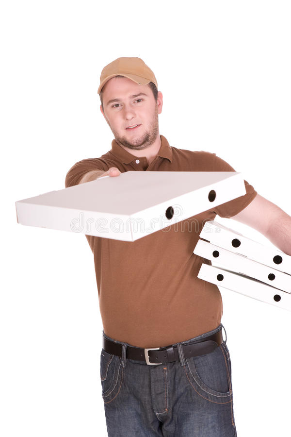 Pizza delivery. Happy man with pizza delivery. over white background stock images