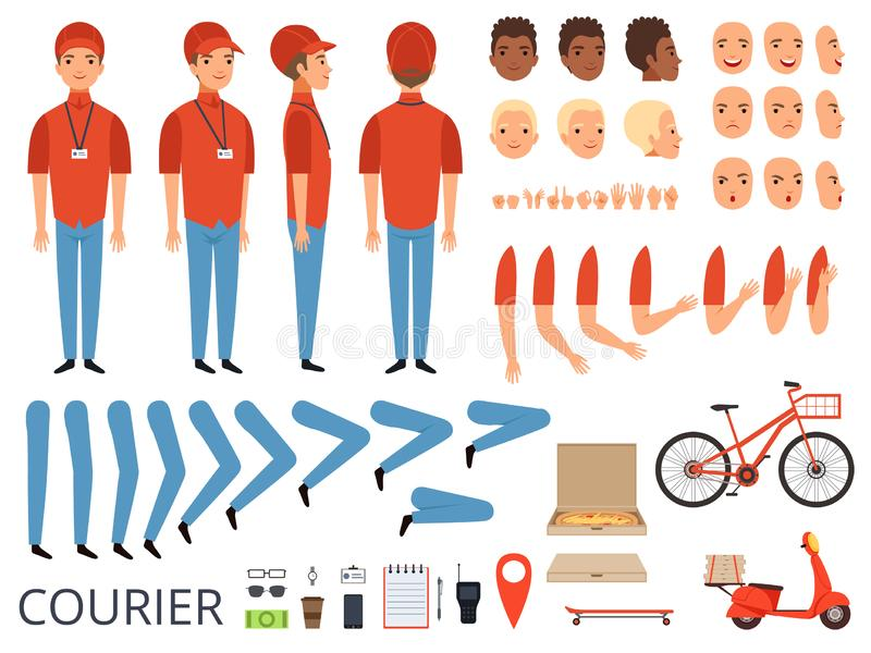 Pizza delivery animation. Fast food courier body parts with professional items box bike vector character creation kit stock illustration