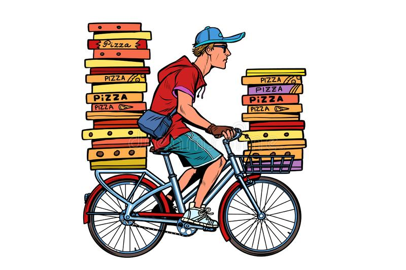 Pizza delivery by Bicycle royalty free illustration
