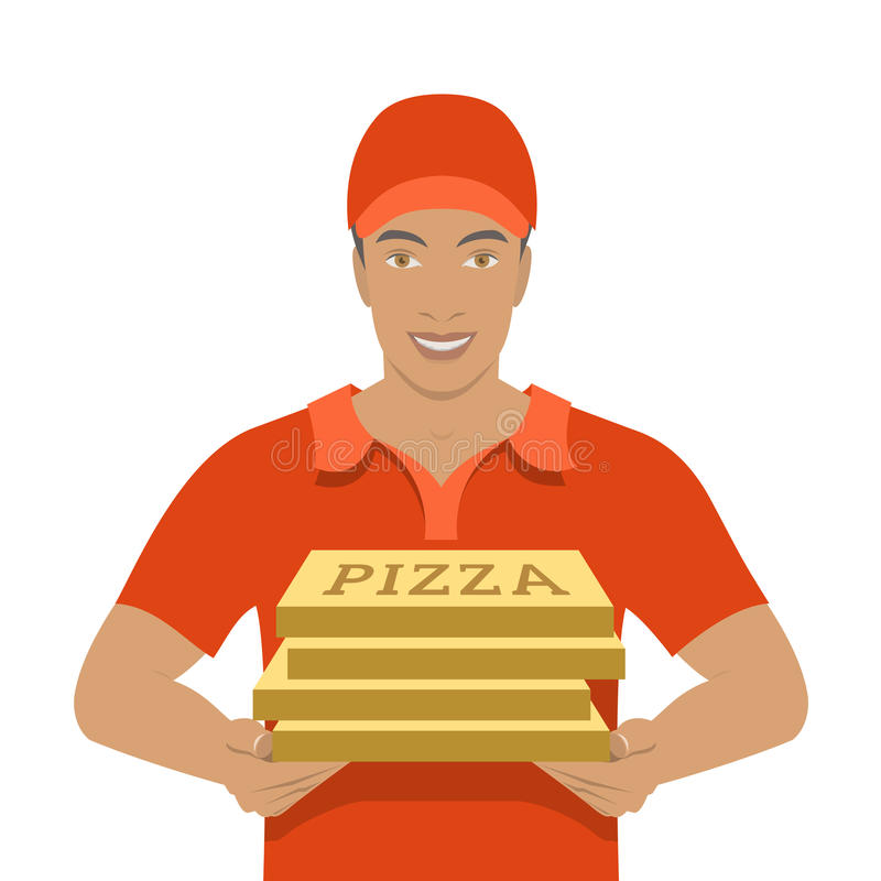 Pizza delivery boy holding cardboard boxes stock illustration