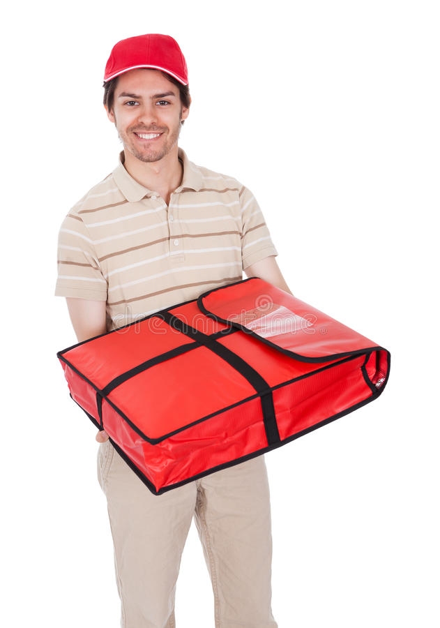Pizza delivery boy with thermal bag. Isolated on white stock photo