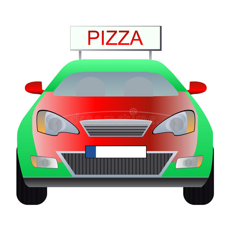 Pizza delivery car royalty free illustration