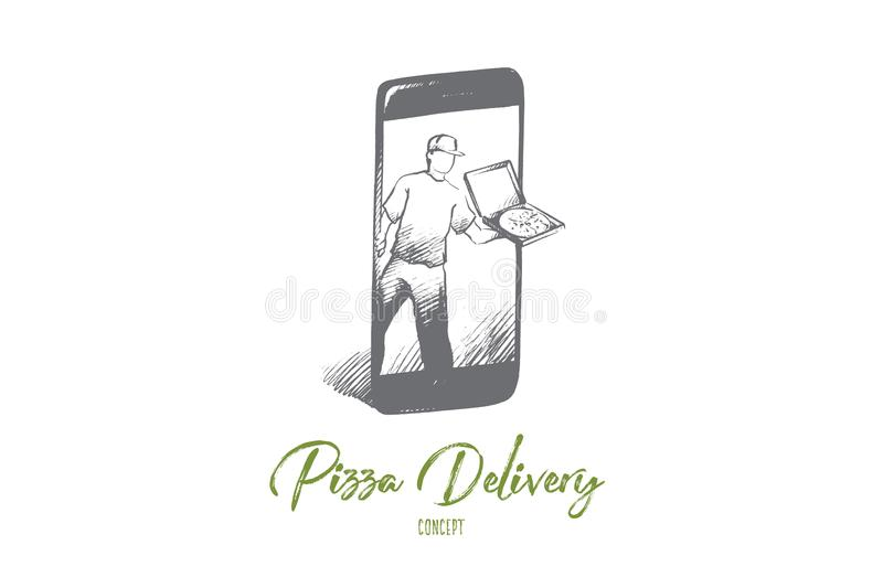 Pizza delivery concept. Hand drawn isolated vector. royalty free illustration