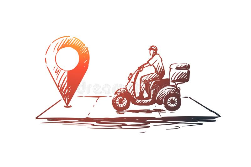 Pizza delivery concept. Hand drawn sketch isolated illustration stock illustration