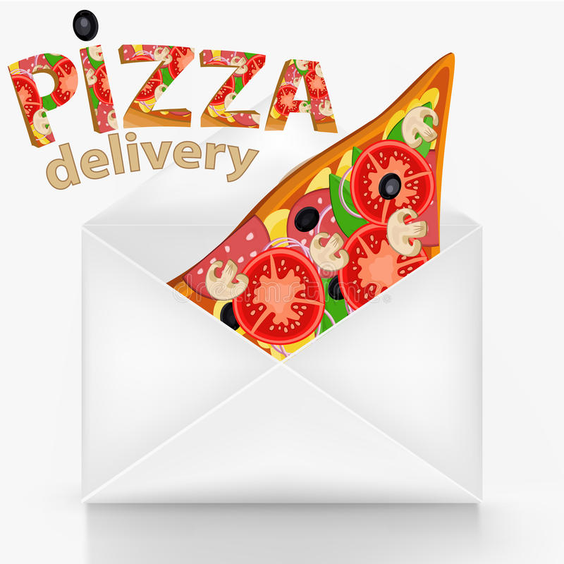 Pizza delivery concept with wite envelope stock illustration
