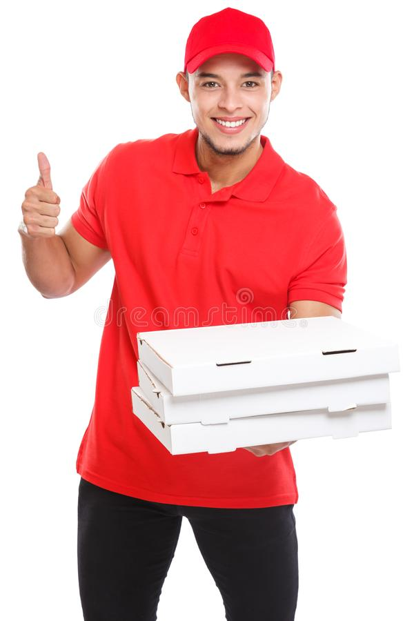 Pizza delivery latin boy order delivering success successful smiling job deliver box isolated on white. Pizza delivery latin boy order delivering success stock photography