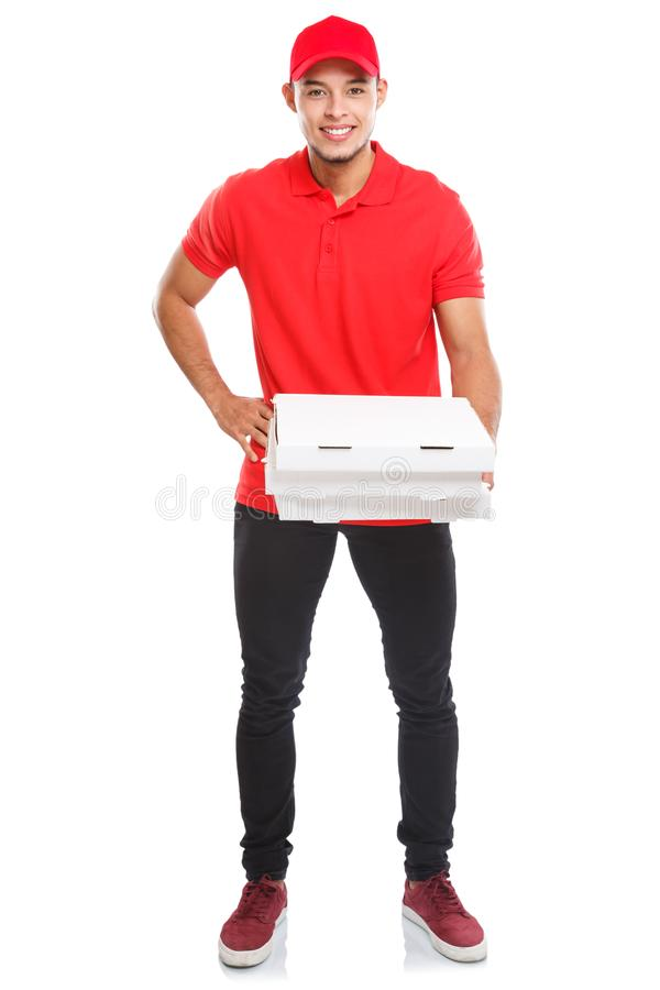 Pizza delivery latin man boy order delivering job full body portrait deliver box young isolated on white. Pizza delivery latin man boy order delivering job full stock photos