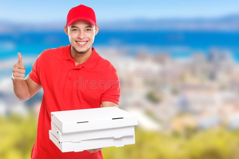 Pizza delivery latin man order delivering job success successful smiling deliver copyspace copy space. Outdoors stock photography