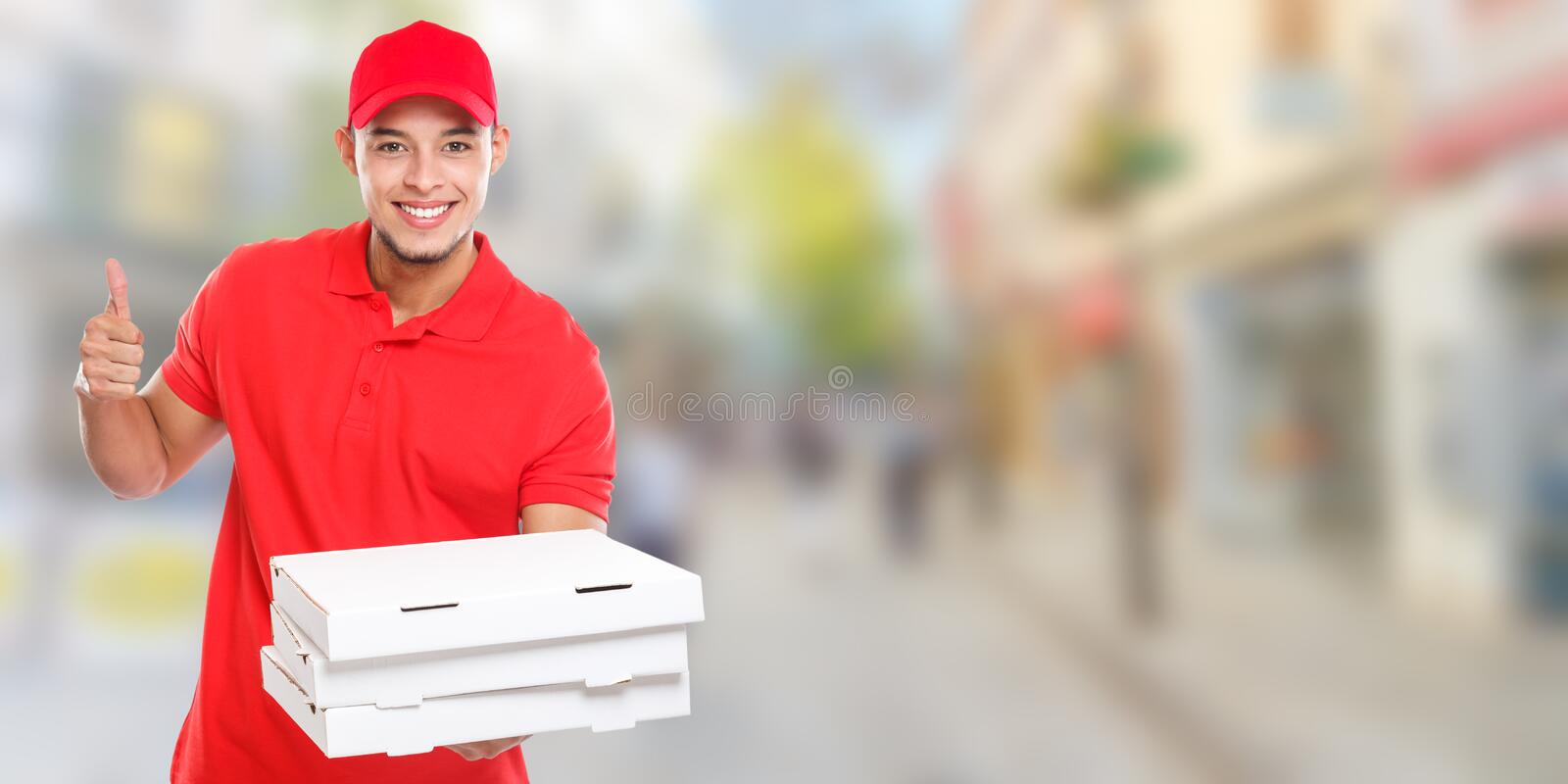 Pizza delivery man boy order delivering job deliver success successful smiling town banner copyspace copy space. City stock photography