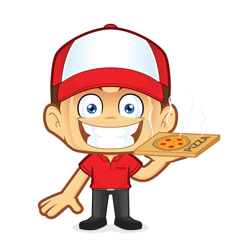 Pizza delivery man courier. Clipart picture of a pizza delivery man courier cartoon character vector illustration