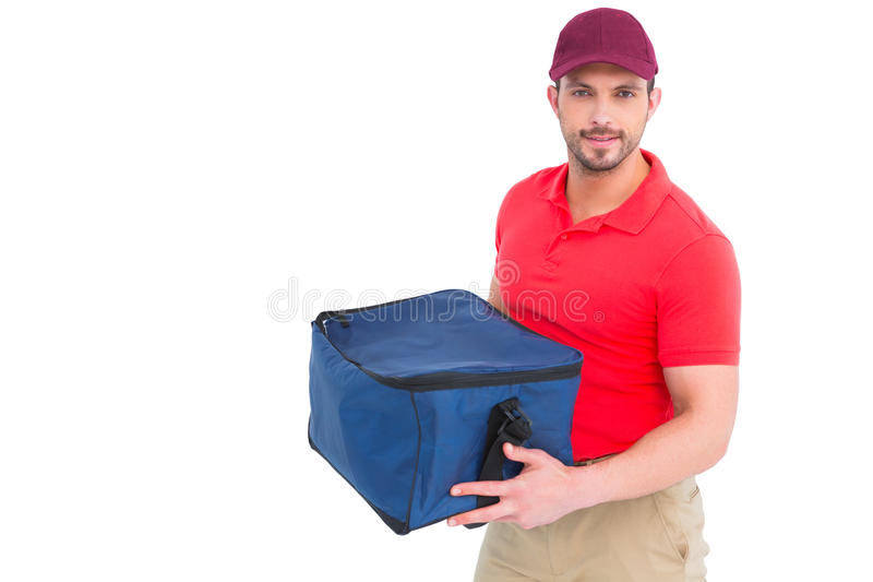 Pizza delivery man holding bag. On white background stock photo