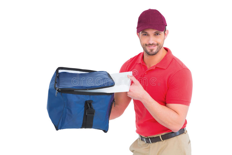 Pizza delivery man holding bag. On white background royalty free stock photos