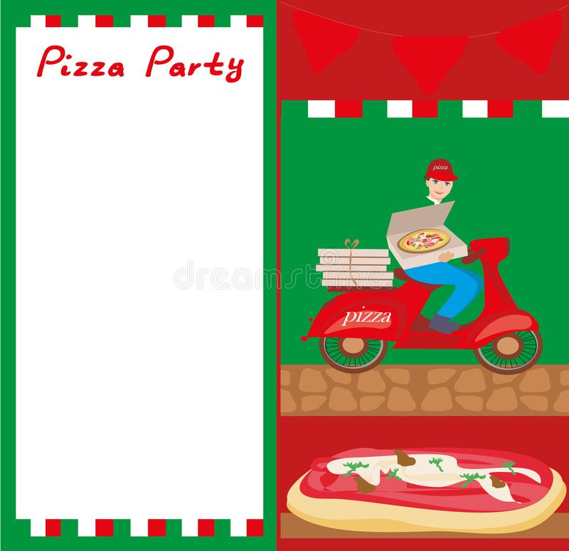 Pizza delivery man on a motorcycle - Abstract card with space f stock illustration