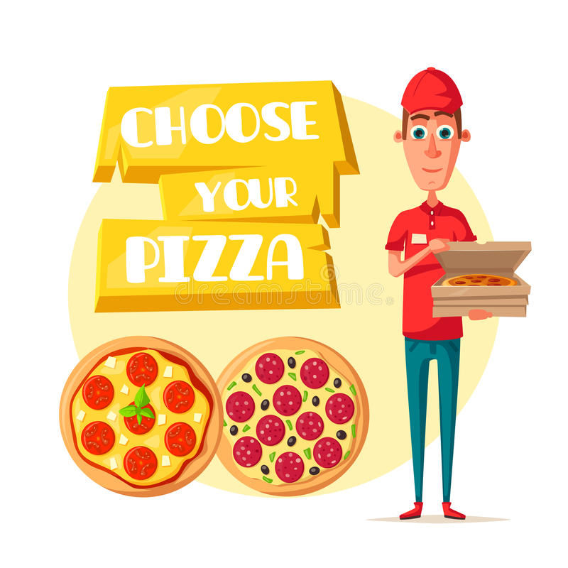 Pizza delivery man with open box cartoon icon. Pizza delivery man cartoon icon. Pizza delivery boy in red uniform holding open box with fast food pepperoni stock illustration