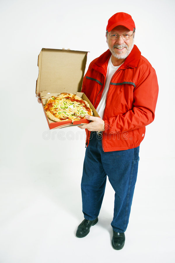 Pizza delivery man in uniform stock photos