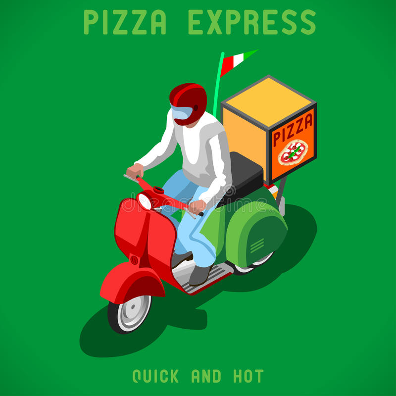 Pizza Delivery People Isometric. Pizza Scooter Delivery Man. Flat People Collection Unique Isometric Realistic Pose. NEW lively palette 3D Flat Vector Icon Set vector illustration