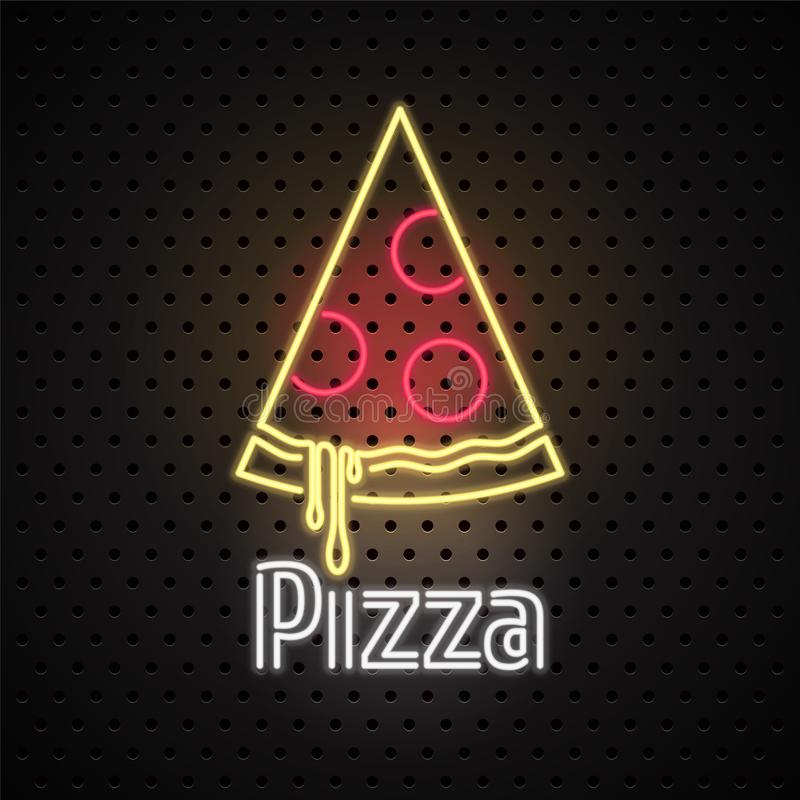 Pizza, pizza delivery service neon sign for vector logo, icon. Design element for Italian restaurant stock illustration