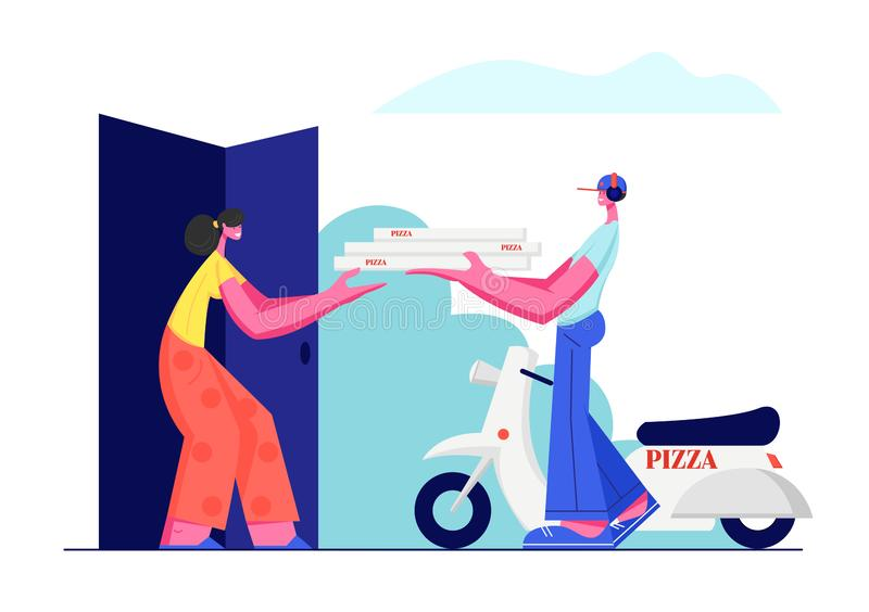 Pizza Delivery Service. Young Male Courier Character Bring Order to Customer Stand near Scooter and Give Pile of Pizza Boxes royalty free illustration