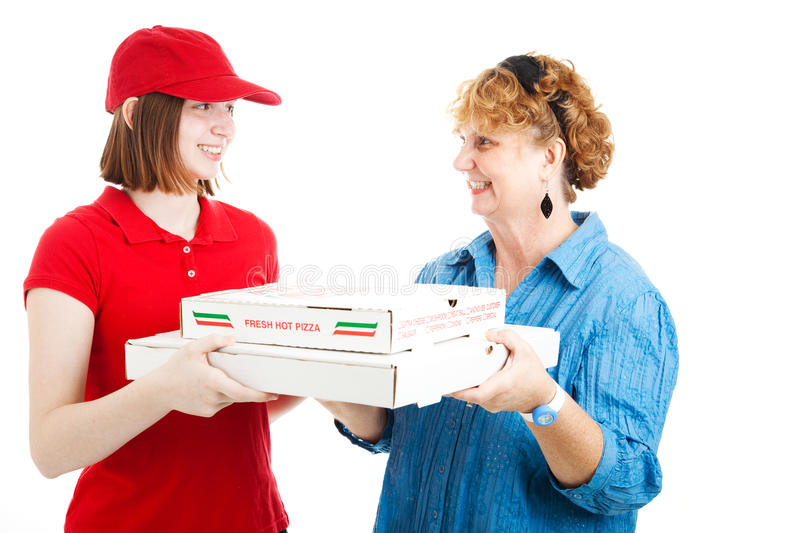 Download Pizza Delivery to Customer stock photo. Image of plus - 24903586