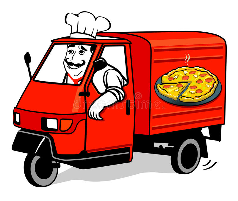 Download Pizza delivery van stock vector. Illustration of male - 21059253