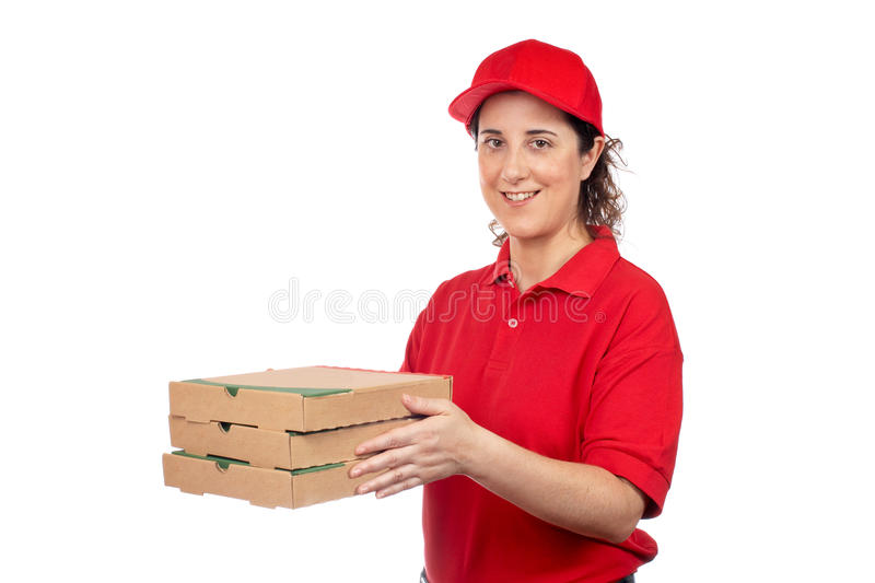 Download Pizza delivery woman stock image. Image of dinner, pizza - 14671189