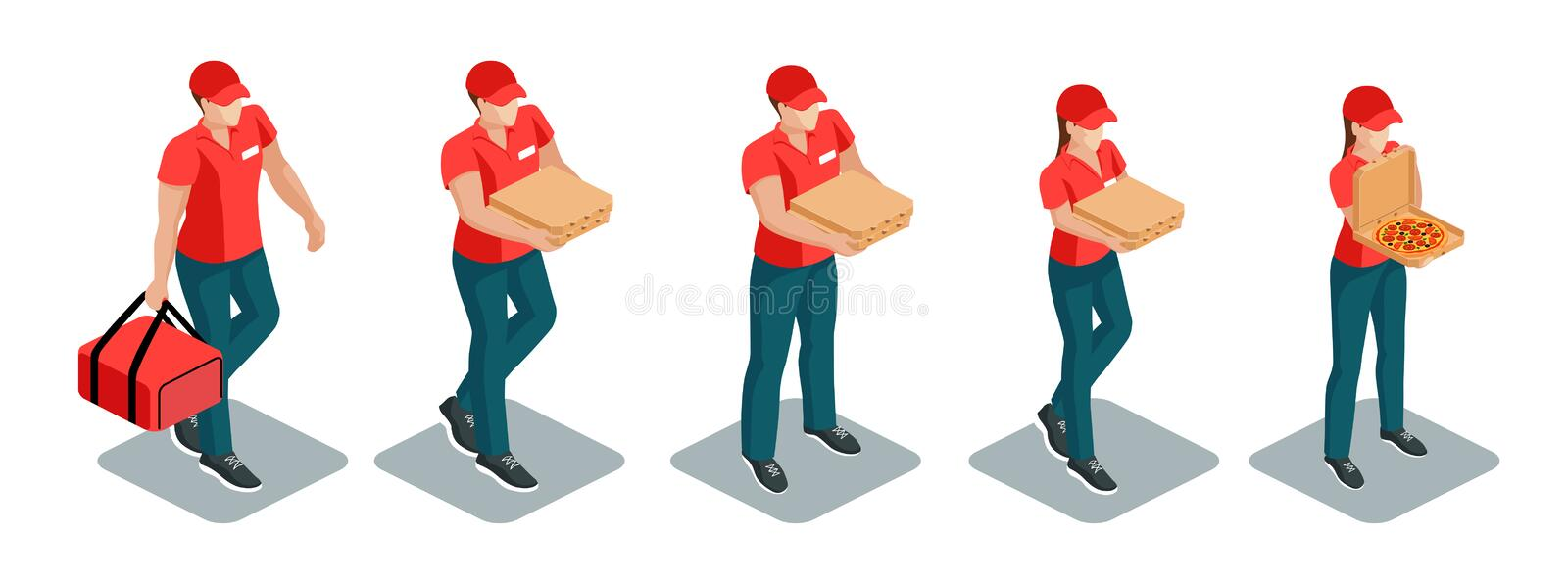 Pizza deliverymen isometric set vector illustration