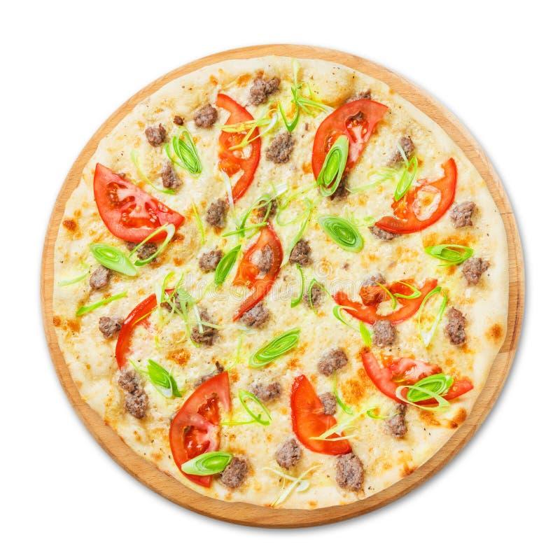 Pizza deliziosa dei frutti di mare con i pomodori fotografia stock