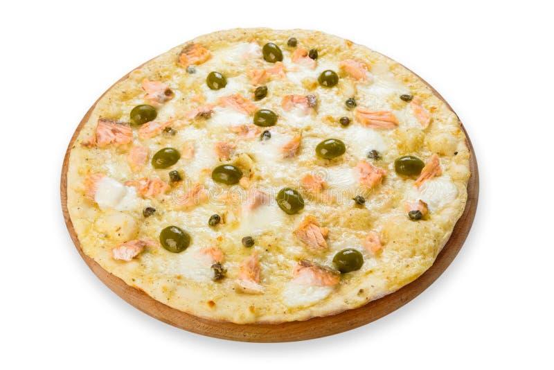 Pizza deliziosa dei frutti di mare con le olive fotografie stock