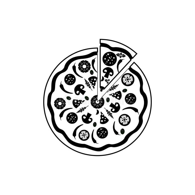 Pizza dell'icona nello stile piano isolata su fondo bianco illustrazione di stock