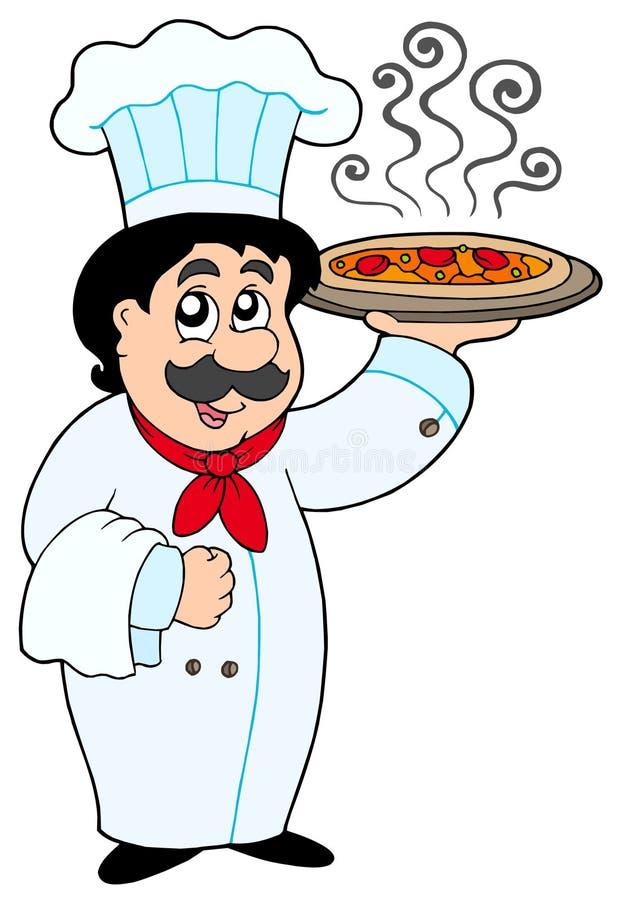 Pizza della holding del cuoco unico del fumetto royalty illustrazione gratis