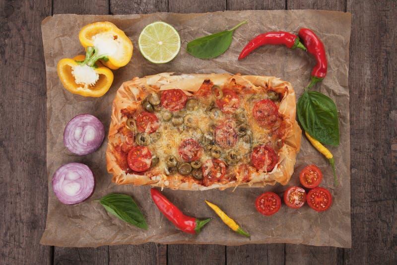 Pizza della pasticceria di Phyllo fotografia stock