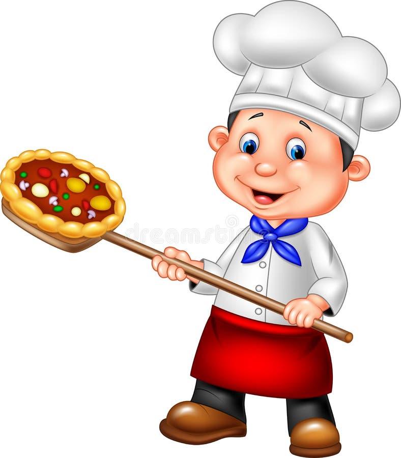Pizza della tenuta del cuoco unico del fumetto royalty illustrazione gratis