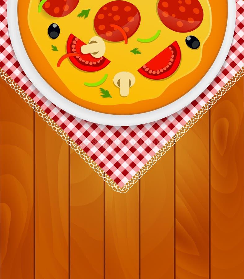 Pizza in der weißen Platte auf Küchen-Serviette an den hölzernen Brettern Backgrou vektor abbildung