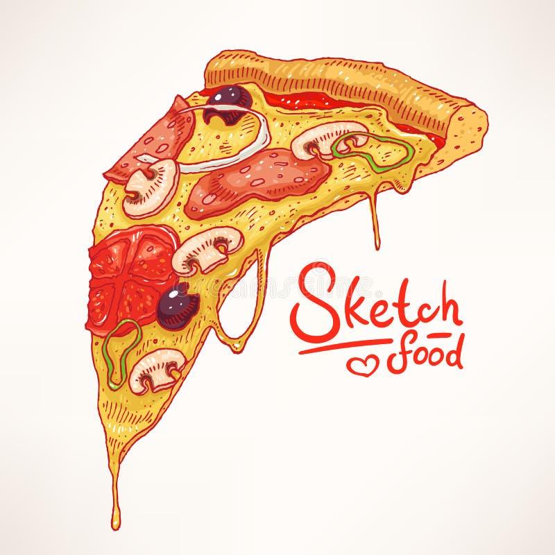 Pizza desenhado à mão - 2 ilustração stock