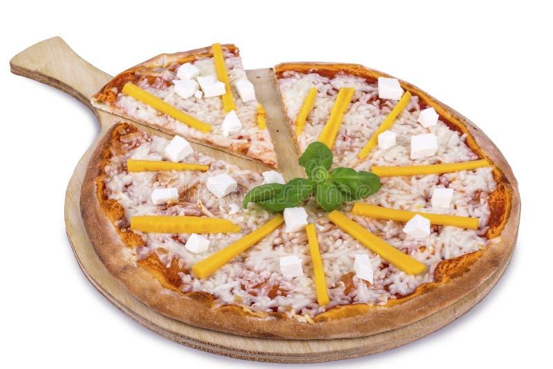 Pizza di formaggio quattro fotografia stock libera da diritti