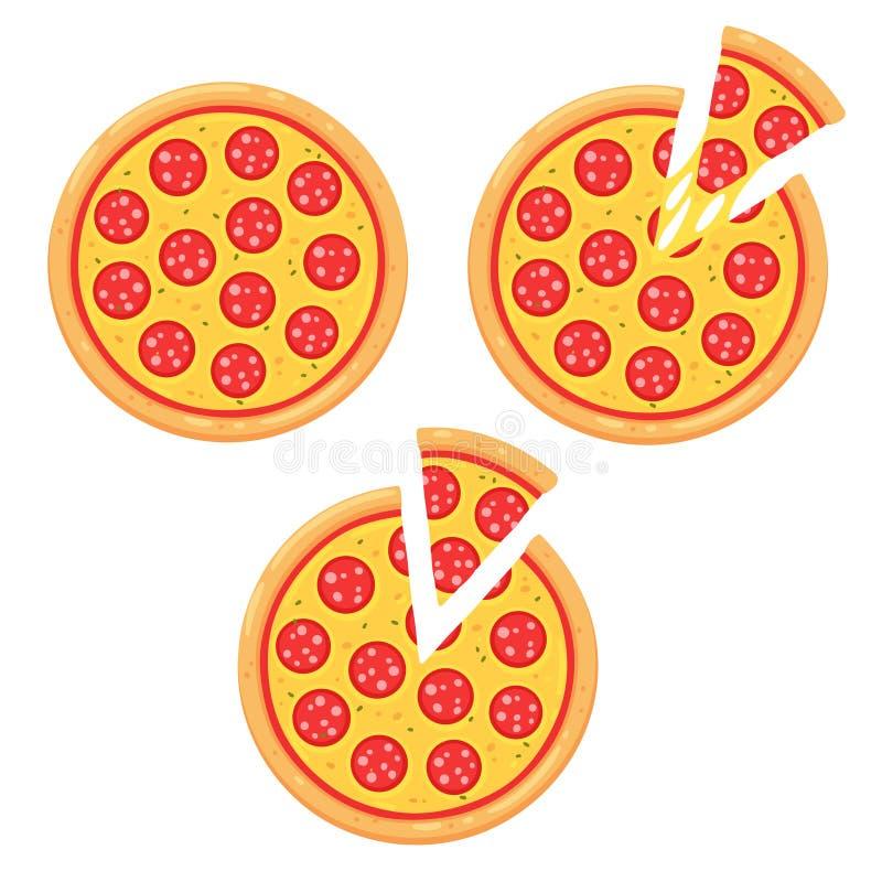 Pizza di merguez con la fetta illustrazione di stock