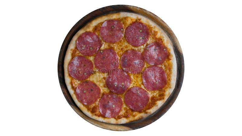 Pizza di merguez italiana con salame fotografie stock libere da diritti