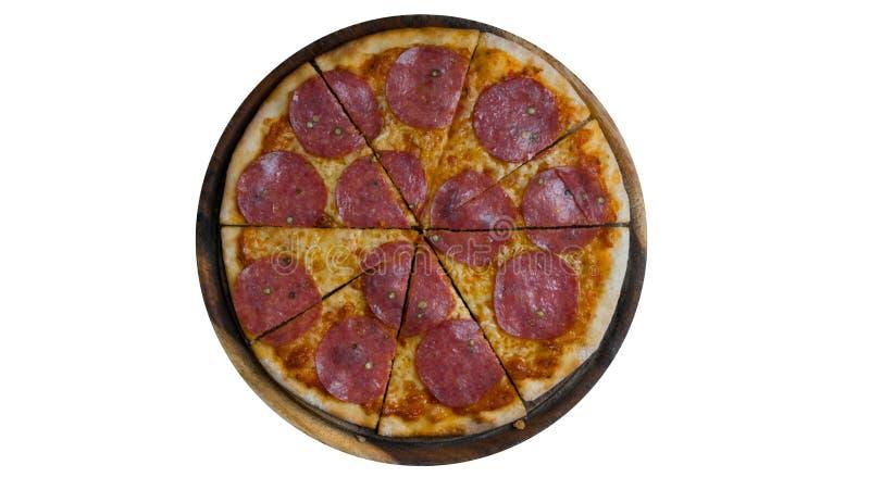 Pizza di merguez italiana con salame immagini stock libere da diritti