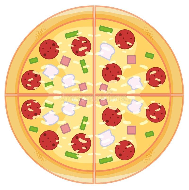 Pizza di merguez su fondo bianco illustrazione di stock