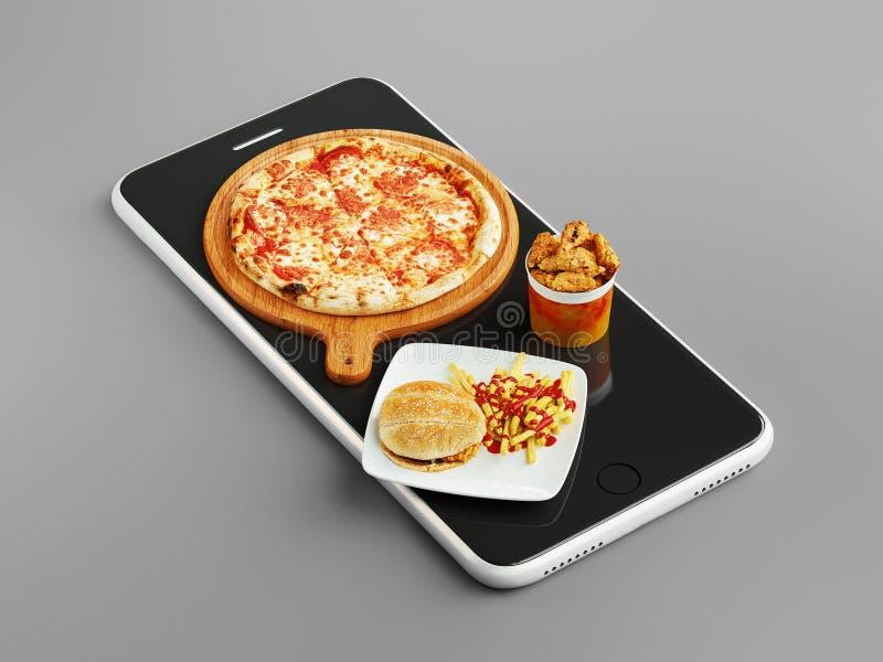 Pizza di ordine online, rappresentazione 3d illustrazione di stock