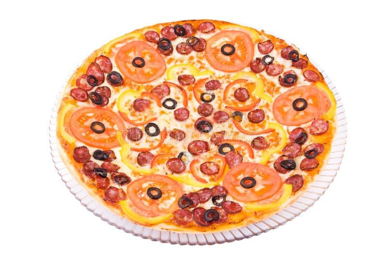 Pizza di salsiccia fotografia stock