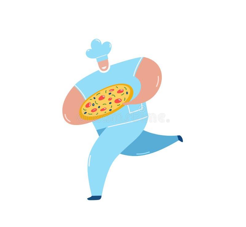 Pizza di trasporto del cuoco unico che esegue l'illustrazione piana di vettore illustrazione vettoriale
