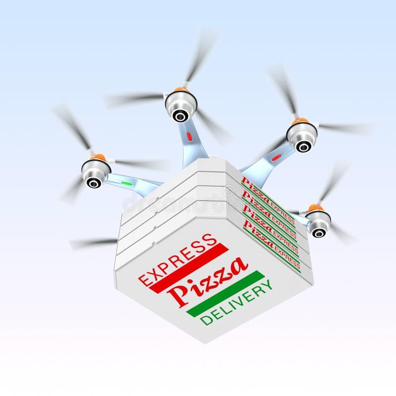 Pizza di trasporto del fuco per il concetto di consegna degli alimenti a rapida preparazione immagine stock libera da diritti