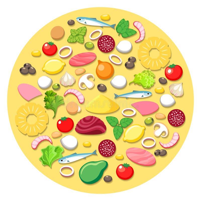Pizza, die Bestandteile kocht lizenzfreie abbildung