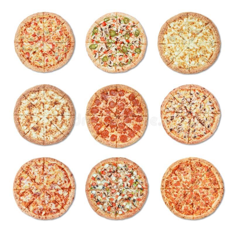 Pizza diferente no fundo branco fotos de stock royalty free