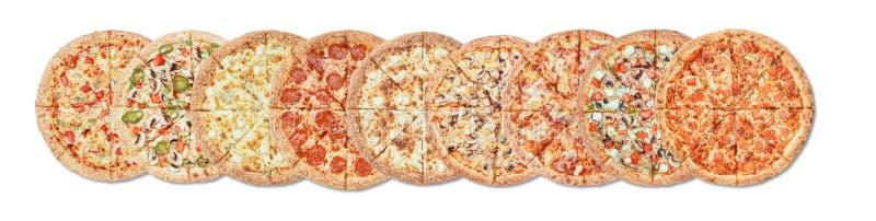 Pizza différente sur le fond blanc images libres de droits