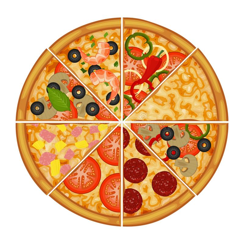 Pizza with different ingredients. Object for packaging royalty free illustration