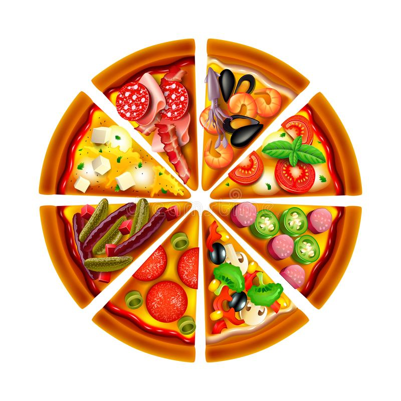 Pizza from different slices top view isolated vector royalty free illustration