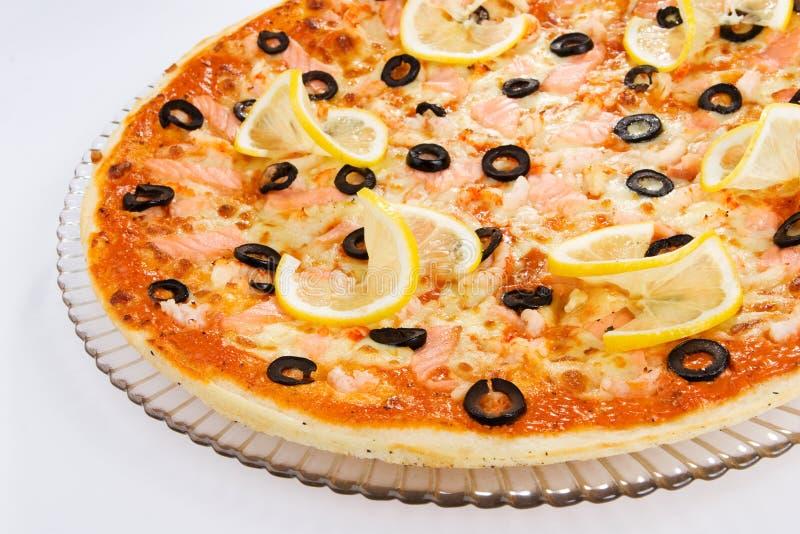Pizza do camarão imagem de stock